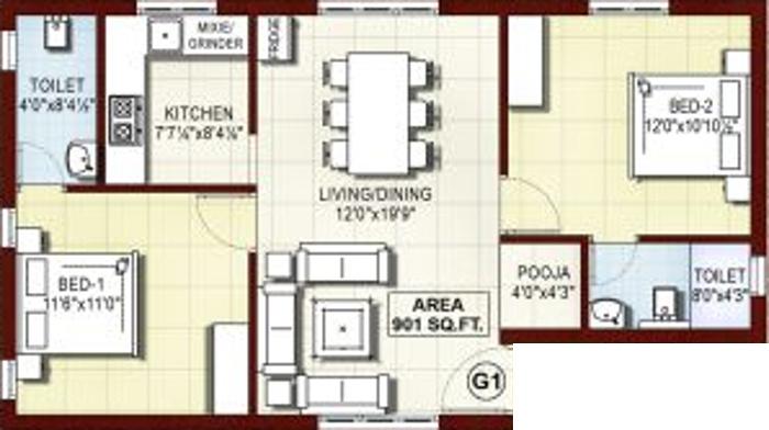 Rajkham Orchid (2BHK+2T (901 sq ft)   Pooja Room 901 sq ft)
