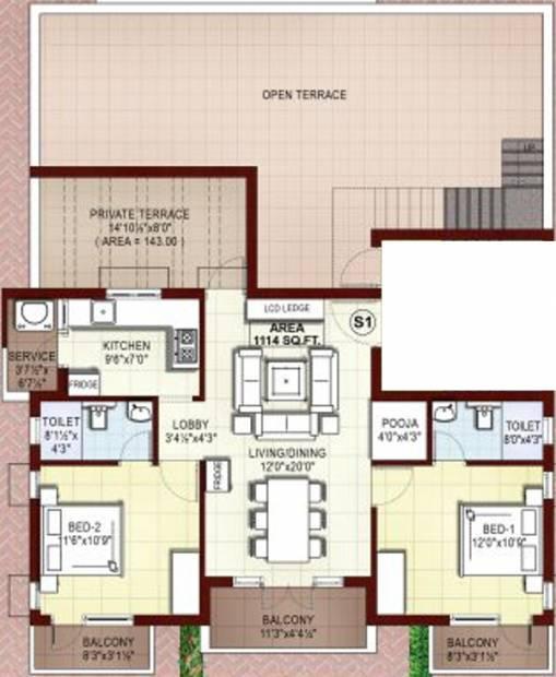Rajkham Orchid (2BHK+2T (1,114 sq ft)   Pooja Room 1114 sq ft)