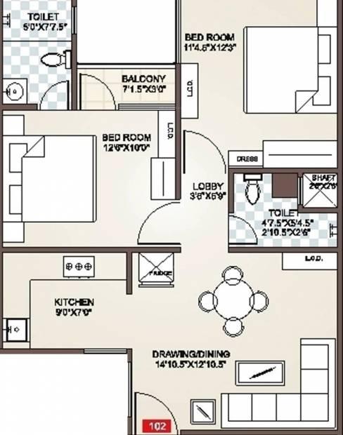 Icarus Usha Residency (2BHK+2T (980 sq ft) 980 sq ft)