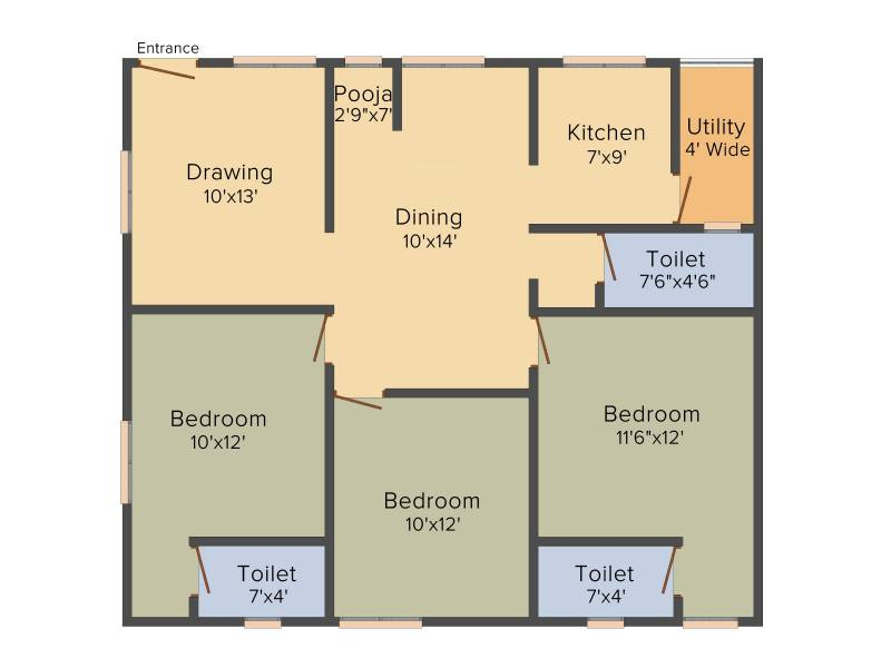 GSV Residential Apartment At Nagole (3BHK+3T (1,430 sq ft) + Pooja Room 1430 sq ft)