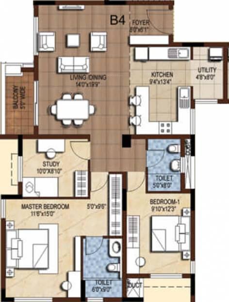 Akshaya Tango (2BHK+2T (1,543 sq ft) + Study Room 1543 sq ft)
