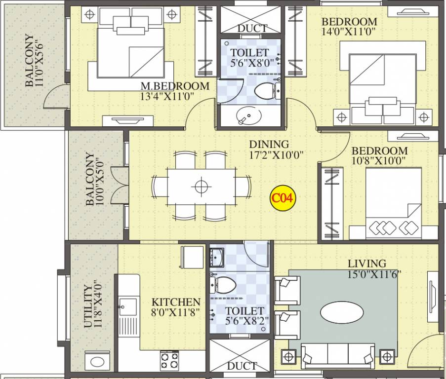 1515 Sq Ft 3 BHK 2T Apartment For Sale In BM Developers