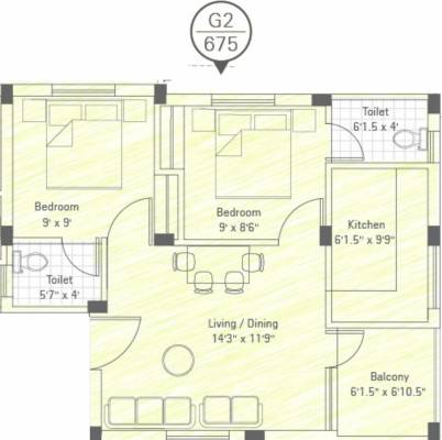 675 sq ft 2 bhk 2t apartment for sale in sekaran realties for 675 sq ft floor plan
