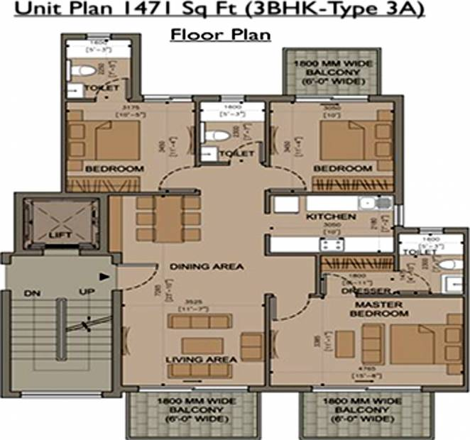Supertech Defence Floors (3BHK+3T (1,471 sq ft) 1471 sq ft)