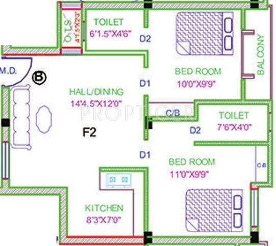 750 Sq Ft Apartment: 750 Sq Ft 2 BHK 2T Apartment For Sale In Zion Estates