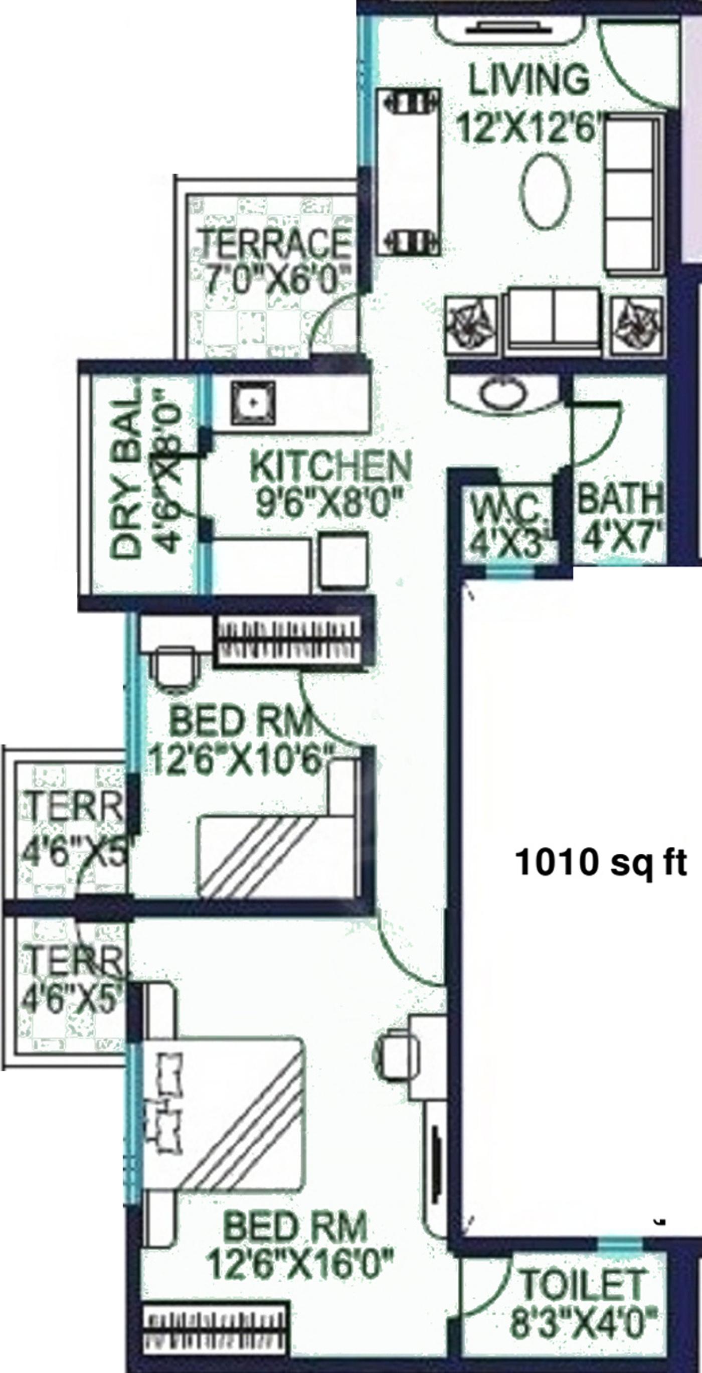 1010 Sq Ft 2 Bhk 2t Apartment For Sale In Shree Balaji