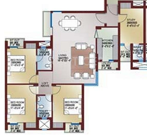 1981 Sq Ft 3 Bhk 3t Apartments In Ansal Api Celebrity