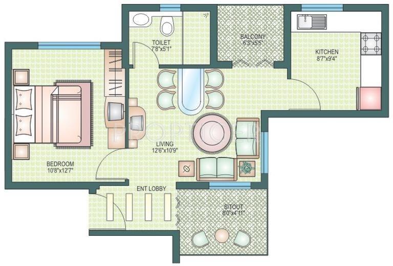 750 sq ft 1 bhk floor plan image duo associates duo for 750 sq ft floor plan