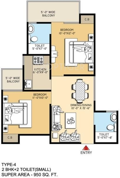 950 sq ft 2 bhk 2t apartment for sale in meenal housing for 950 sq ft house plans