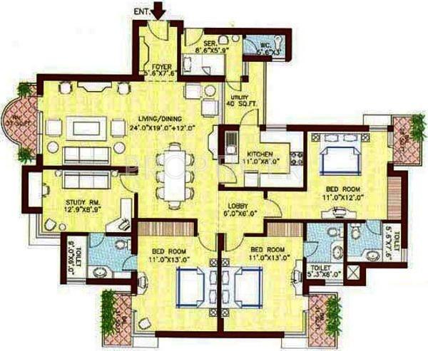 Vipul Greens (3BHK+3T (1,860 sq ft) + Study Room 1860 sq ft)