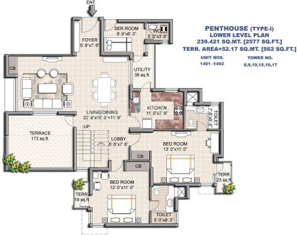 Vipul Greens (4BHK+4T (2,577 sq ft) + Pooja Room 2577 sq ft)