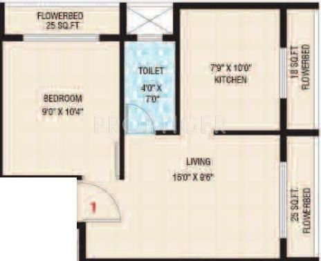 720 sq ft 1 bhk 1t apartment for sale in dolphin rose for 720 sq ft apartment floor plan