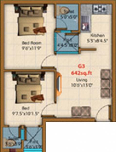KE Shakthi Enclave (2BHK+2T (642 sq ft) 642 sq ft)