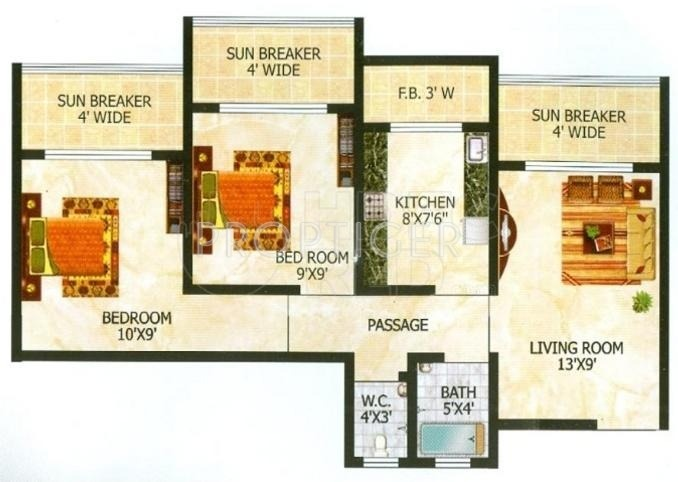 770 Sq Ft 2 Bhk 2t Apartment For Sale In Raj Group Tulsi
