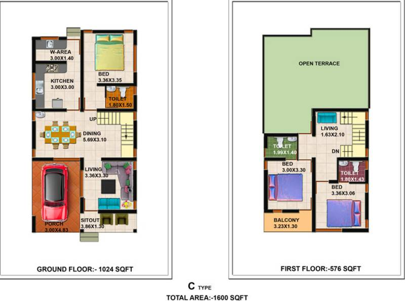 Shanoor Willows (3BHK+3T (1,600 sq ft) 1600 sq ft)