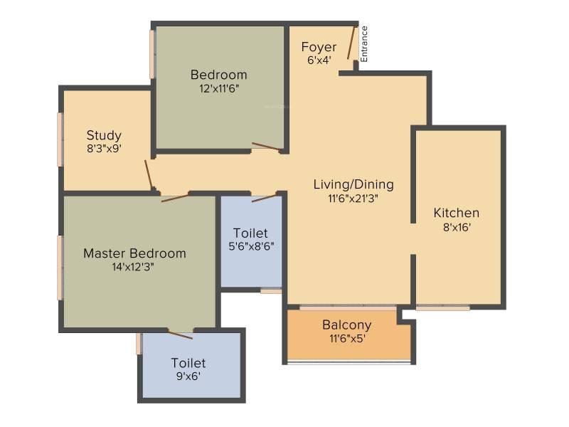 Prestige Royale Gardens (2BHK+2T (1,362 sq ft)   Study Room 1362 sq ft)