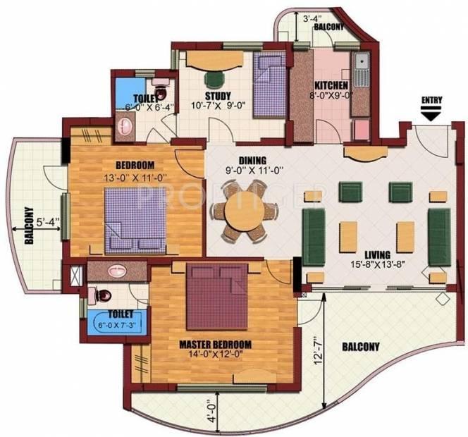 Eldeco Utopia (2BHK+2T (1,535 sq ft)   Study Room 1535 sq ft)
