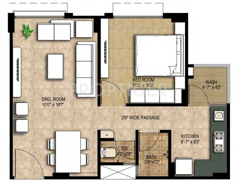 650 Sq Ft 1 Bhk Floor Plan 1bhk 2t 650 Sq Ft Image