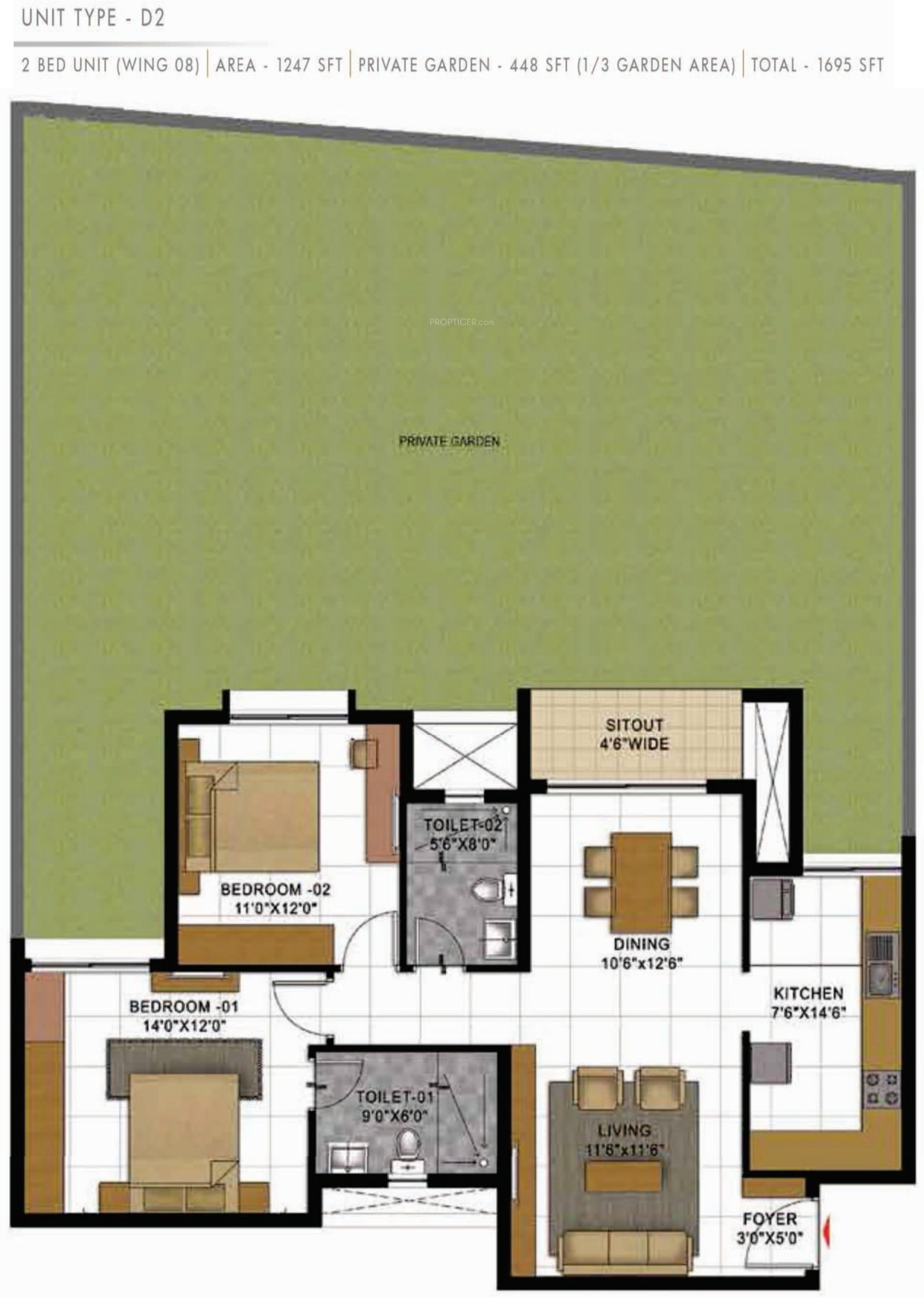 1695 Sq Ft 2 Bhk 2t Apartment For Sale In Prestige Group