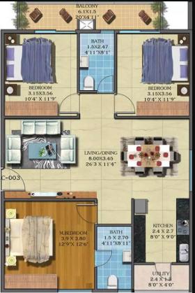 Estella Maple Square A (3BHK+2T (1,504 sq ft) 1504 sq ft)