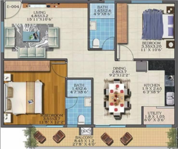 Estella Maple Square A (2BHK+2T (1,147 sq ft) 1147 sq ft)
