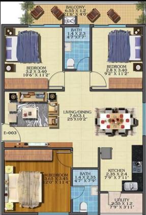 Estella Maple Square A (3BHK+2T (1,249 sq ft) 1249 sq ft)