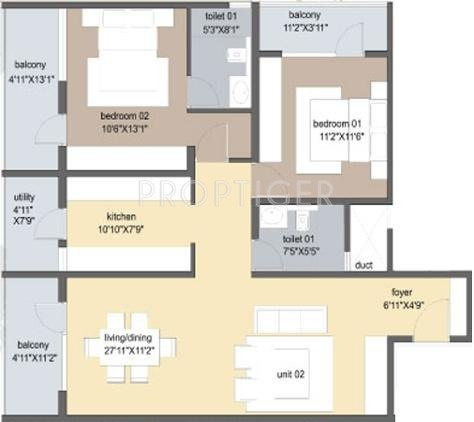 Axis Tuscan Terraces (2BHK+2T (1,460 sq ft) 1460 sq ft)
