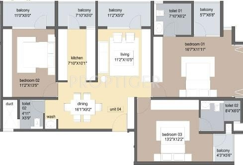 Axis Tuscan Terraces (3BHK+3T (1,900 sq ft) 1900 sq ft)
