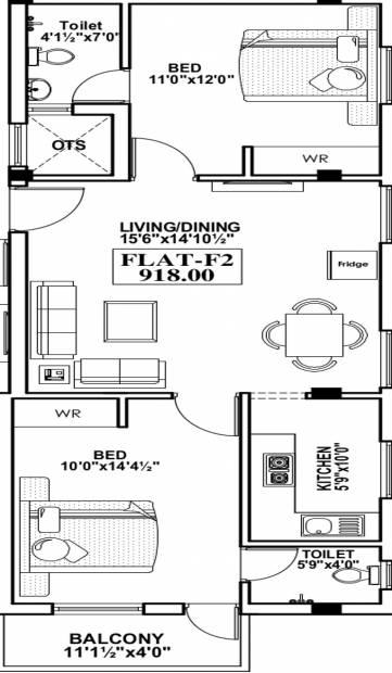 HPK Star Property Developer Ellora (2BHK+2T (918 sq ft) 918 sq ft)