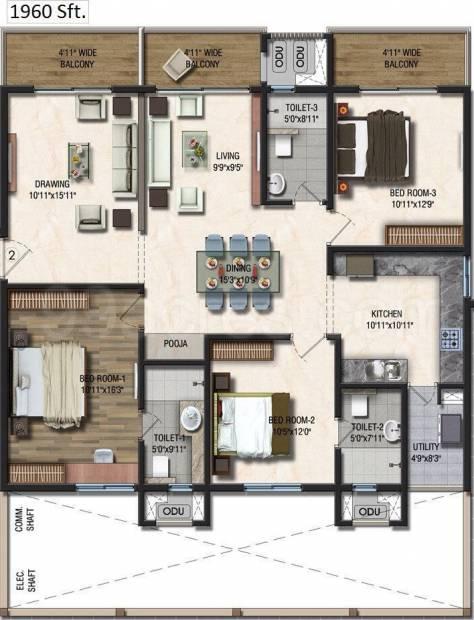 Sumadhura Acropolis (3BHK+3T (1,960 sq ft) + Pooja Room 1960 sq ft)