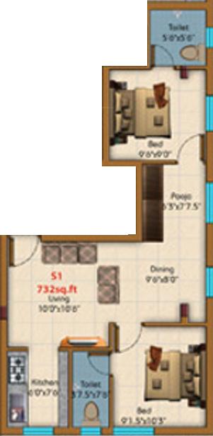 KE Shakthi Enclave (2BHK+2T (732 sq ft) 732 sq ft)