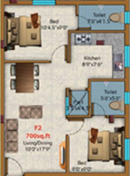 KE Shakthi Enclave (2BHK+2T (700 sq ft) 700 sq ft)