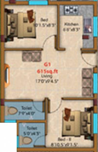 KE Shakthi Enclave (2BHK+2T (615 sq ft) 615 sq ft)