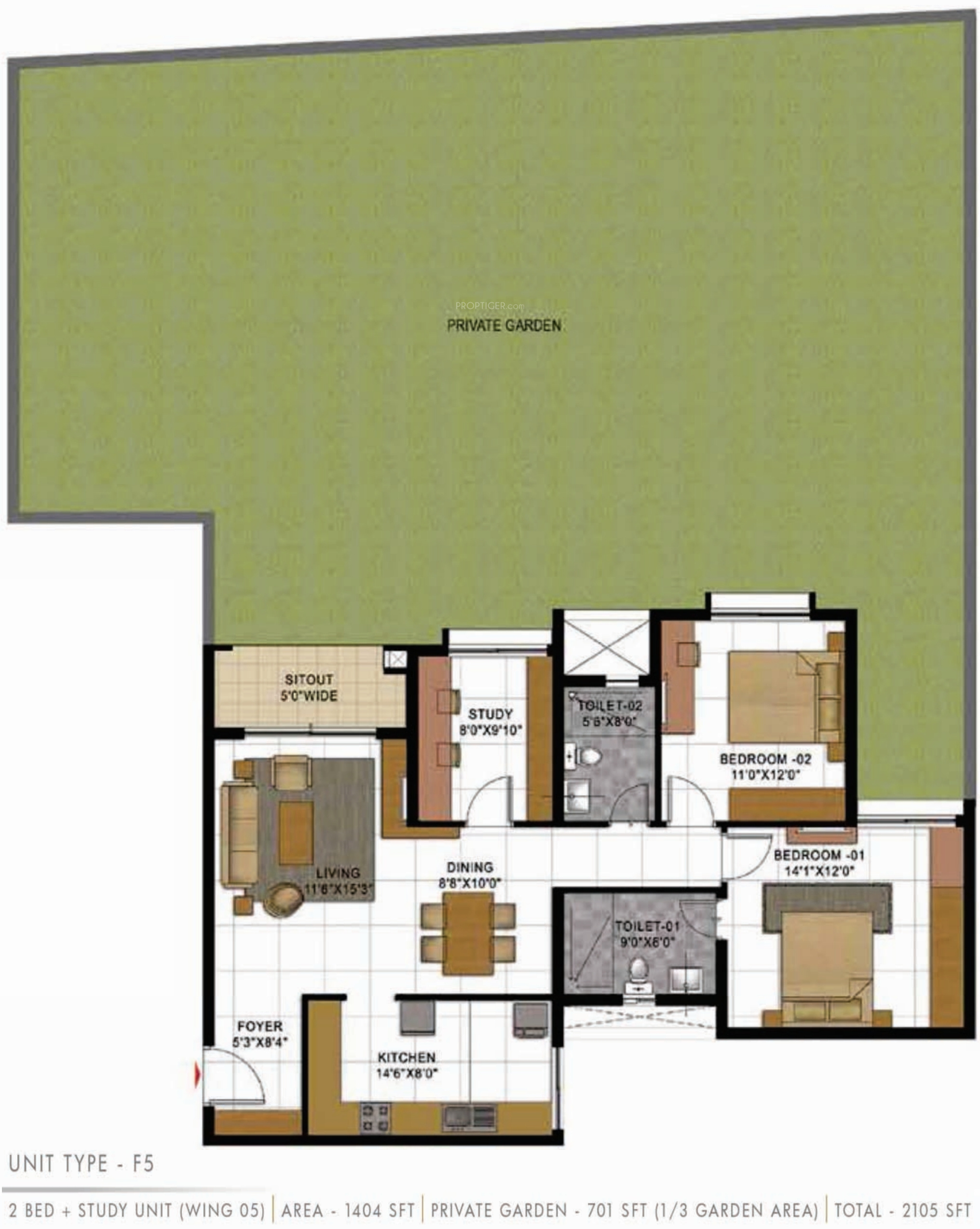 2105 Sq Ft 2 Bhk 2t Apartment For Sale In Prestige Group