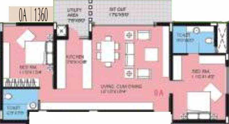 BVL Group Aster (2BHK+2T (1,360 sq ft) 1360 sq ft)
