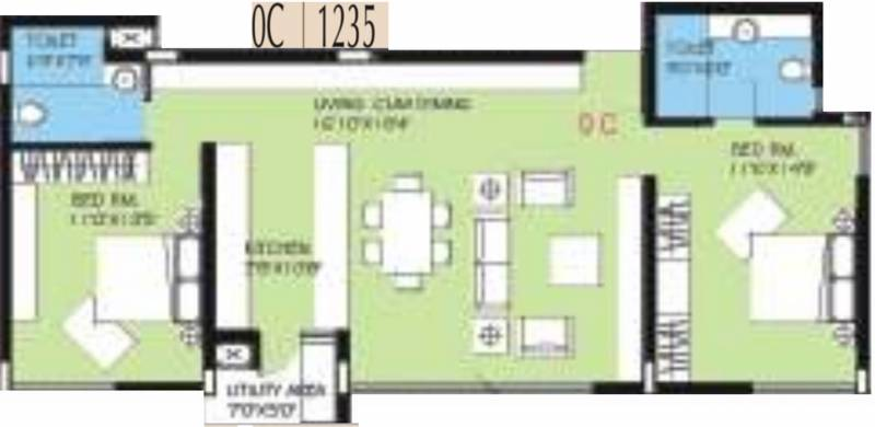 BVL Group Aster (2BHK+2T (1,235 sq ft) 1235 sq ft)