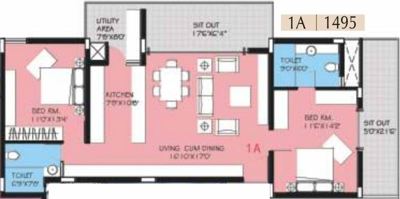 BVL Group Aster (2BHK+2T (1,495 sq ft) 1495 sq ft)