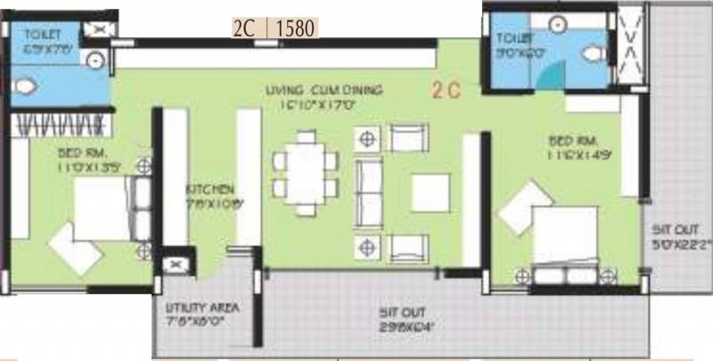 BVL Group Aster (2BHK+2T (1,580 sq ft) 1580 sq ft)