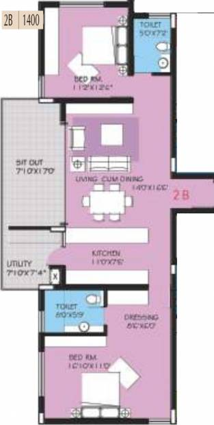 BVL Group Aster (2BHK+2T (1,400 sq ft) 1400 sq ft)