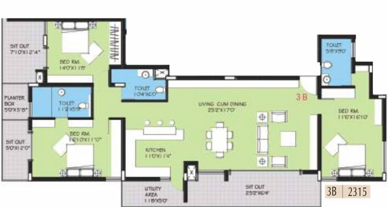 BVL Group Aster (3BHK+3T (2,315 sq ft) 2315 sq ft)