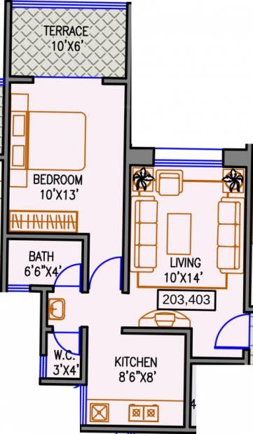 640 sq ft 1 bhk floor plan image navjeevan properties for 640 square feet floor plan