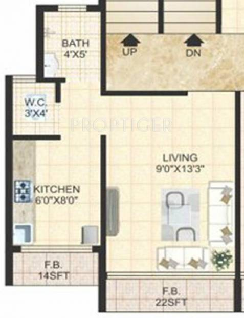 380 sq ft 1 bhk floor plan image sm developers niwara for 380 square feet floor plan