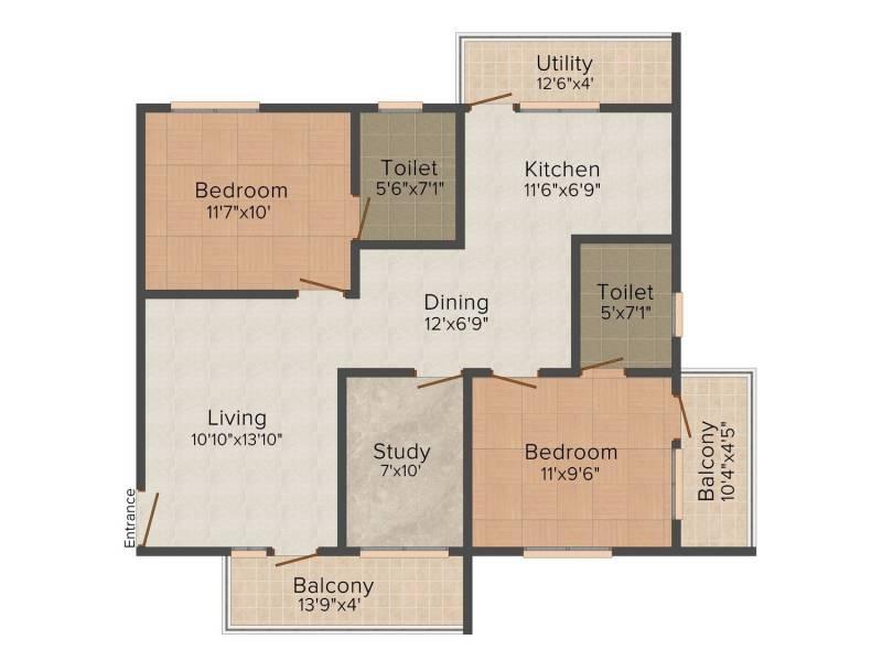 Avigna Celeste Apartment (2BHK+2T (1,150 sq ft) 1150 sq ft)