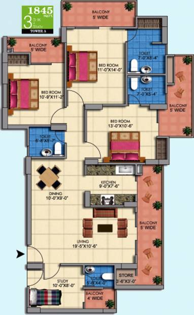 1845 Sq Ft 3 Bhk Floor Plan Image Mascot Homes Manorath