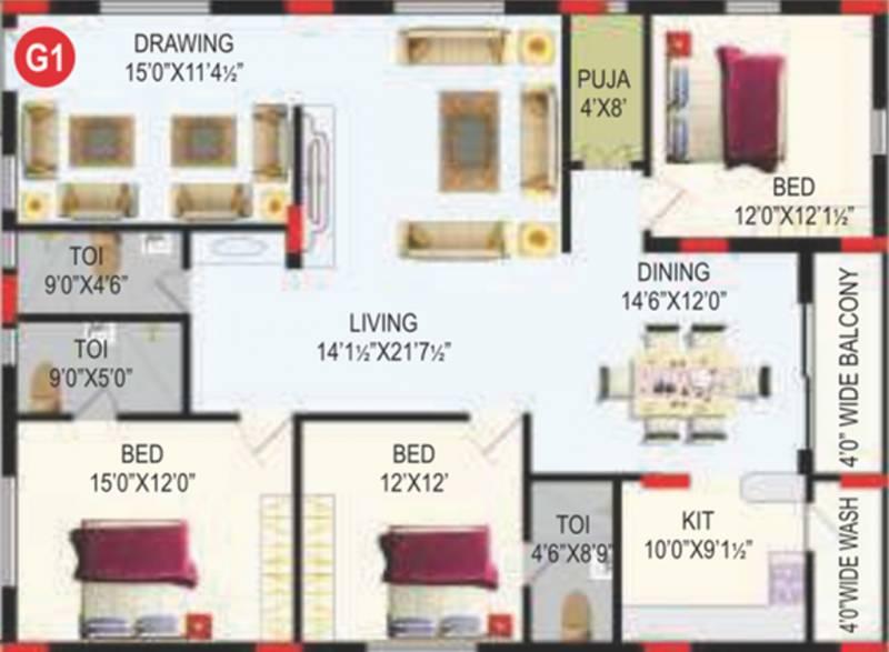 RV Bhaiji Panchajanya (3BHK+3T (2,102 sq ft)   Pooja Room 2102 sq ft)