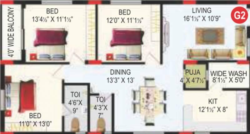 RV Bhaiji Panchajanya (3BHK+2T (1,540 sq ft)   Pooja Room 1540 sq ft)