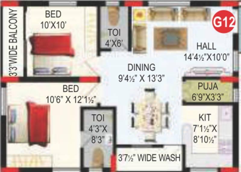 RV Bhaiji Panchajanya (2BHK+2T (1,013 sq ft)   Pooja Room 1013 sq ft)