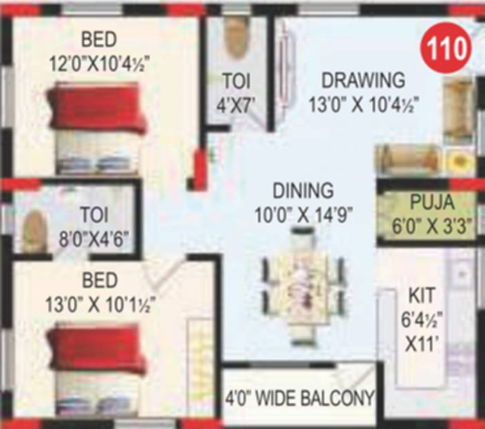 RV Bhaiji Panchajanya (2BHK+2T (1,056 sq ft)   Pooja Room 1056 sq ft)