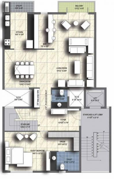 Unitech Resorts (4BHK+4T (3,755 sq ft)   Servant Room 3755 sq ft)