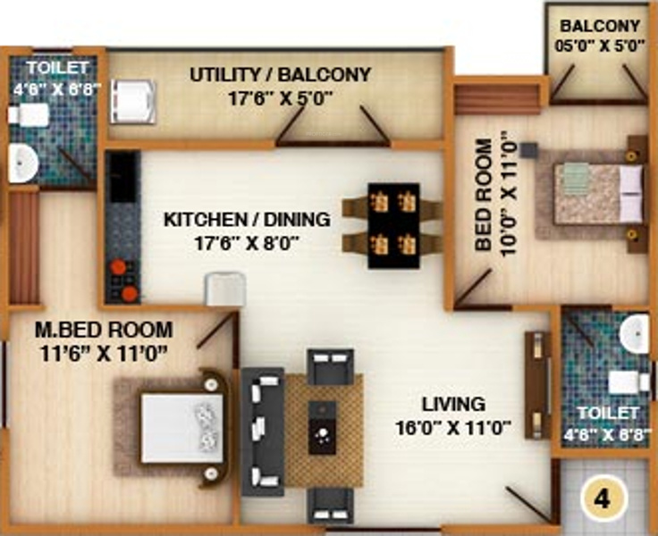 DS Silver Oak (2BHK+2T (1,223 sq ft) 1223 sq ft)